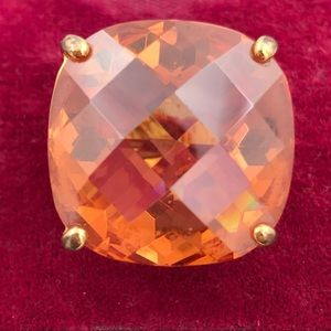 Vintage Orange Checkerboard Glass Cocktail Ring